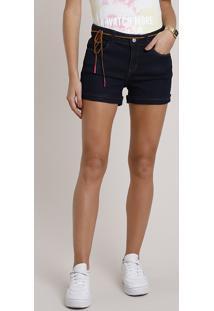 Short Jeans Feminino Reto Com Barra Dobrada E Cinto Cordão Azul Escuro