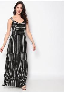 Vestido Longo Listrado- Preto & Branco- Nectarinanectarina