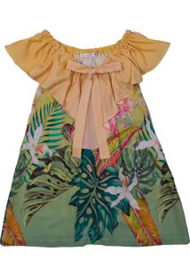 Vestido Estampado De Flores Ser Garota Verde