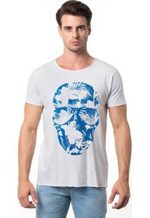 Camiseta Joss Corte A Fio Caveira Cruzeiro Branca