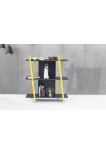 Estante Para Livros Pequena Preta Sue - Estante Baixa Para Quarto Com Pés De Madeira Cor Amarela - 90X38X100 Cm