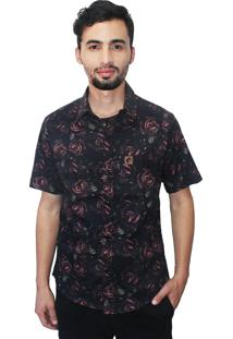 Camisa Estampada Camaleão Urbano Floral Rosas Dark Preta