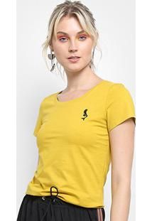 Camiseta Top Moda Bordado Feminina - Feminino-Amarelo