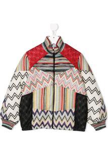 Missoni Kids Knit Detail Bomber Jacket - Vermelho