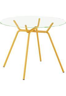 Mesa Com Tampo De Vidro - 1527 - Móveis Carraro - Amarelo