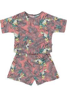 Conjunto Infantil Menina Com Blusa E Shorts Estampado