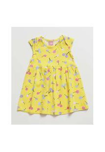Vestido Infantil Estampado Frutas Manga Curta Tam 1 A 3