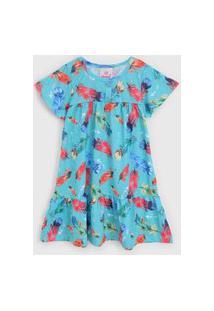 Vestido Abrange Infantil Penas Azul