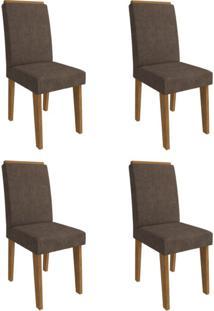 Conjunto Com 4 Cadeiras De Jantar Milena Suede Savana E Cacau