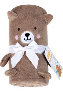 Manta Baby Urso Bordada Em Relevo- Marrom & Branca- Lepper