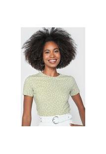 Camiseta Dzarm Padronagem Verde/Branco
