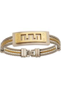 Bracelete De Aço Inox Tudo Joias Dupla Cor Com 15Mm De Largura - Unissex-Dourado