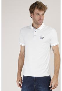 Polo Masculina Comfort Fit Maquinetada Com Bordado Manga Curta Off White