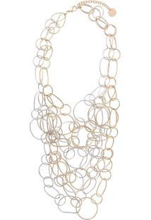 Silvia Gnecchi Colar Double Multiple Ring X - Dourado