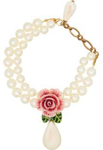 Dolce & Gabbana Colar Com Pingente Floral - Rose