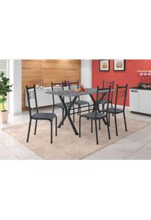 Conjunto De Mesa Miame 150 Cm Com 6 Cadeiras Lisboa Preto E Mesclado Petróleo