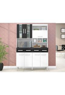 Cozinha 7 Portas Melissa Branco/Preto - Lc Móveis