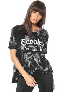 Camiseta Cavalera Lettering Preta/Banca