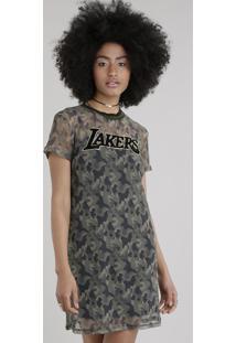 Vestido Em Tule Estampado Camuflado Los Angeles Lakers Verde Militar