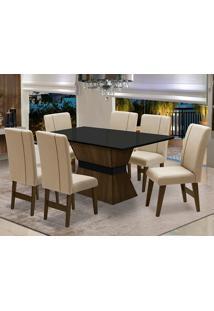 Conjunto De Mesa Para Sala De Jantar Com 6 Cadeira Monaco-Dobue - Castanho / Preto / Creme