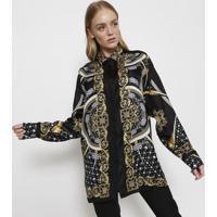 10801190b2 Camisa Em Seda Arabescos - Preta   Amarelaversace Collection