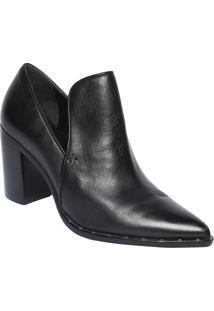 4086cd7c68 Ankle Boot Em Couro- Preta- Salto  8Cmschutz
