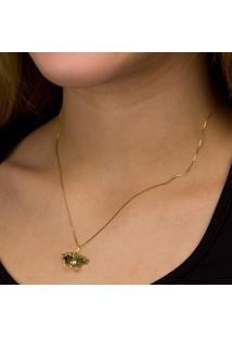 Gargantilha Em Ouro Galeria Flor Com Brilhantes - Gg15012
