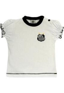 Baby Look Reve D Or Sport Cores Clube Santos Branca E Preta 01641b722da57