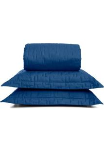 Conjunto De Cobre-Leito Em Percal Reffinata Casal- Azul Buettner
