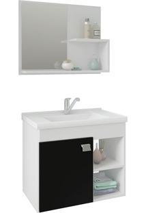 Conjunto Para Banheiro Com 1 Porta E Cuba Lotus-Mgm - Branco / Preto