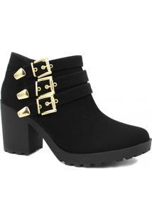 Bota Cano Curto Zariff Shoes Ankle Boot Fivelas Feminina - Feminino