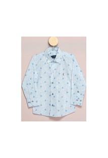 Camisa Social Teodoro Ml Infantil Algodão Floral Casual Azul 8 Azul
