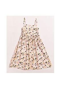 Vestido Infantil Feline Estampado Dots Pop Alça Fina Off White