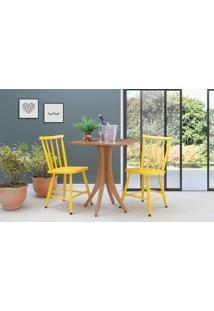 Mesa Bistrô Pequena 2 Cadeiras Quadrada Juliette - Jatobá E Amarelo