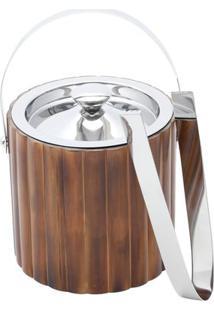Balde Para Gelo De Aço Inox E Bambu Com Pinça Prestige - 28530