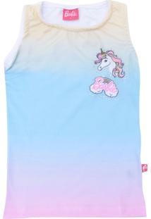 Camiseta Fakini Curto Menina Animal Print Azul