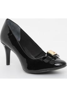 Sapato Em Couro Envernizado Com Laço- Preto- Salto: Jorge Bischoff