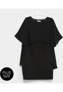 Vestido Holin Stone Curto Reto Detalhe Capa Plus Size - Feminino-Preto