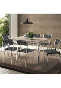 Conjunto Mesa 1526 Nogueira Cromada Com 6 Cadeiras 1709 Fantasia Preto Carraro