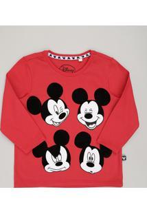 Camiseta Infantil Mickey Mouse Manga Longa Gola Redonda Vermelha d478fd3fc8f47