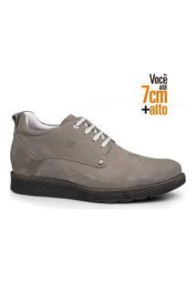 Sapato Social Masculino Rafarillo Couro Aumenta Altura Liso Areia