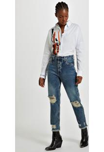 Calça Reta High Rock Jeans Medio - 40