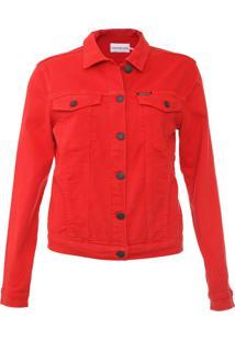 Jaqueta Sarja Calvin Klein Jeans Botões Vermelha