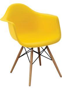 Cadeira Eiffel Com Braço Amarela E Base Madeira