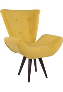 Poltrona Decorativa Emília Suede Amarelo Mobile