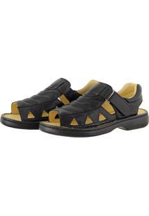 5fc07ca2e Sandália Pessoni Boots & Shoes Casual Conforto Em Couro Preto Preto