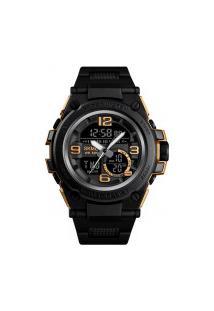 Relógio Skmei Digital -1452- Preto E Dourado