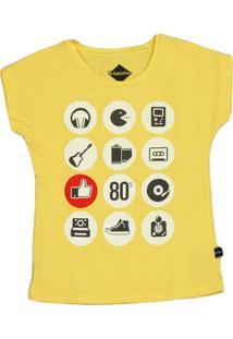 Camiseta Urbaninhos Meia Cava Old School Amarela