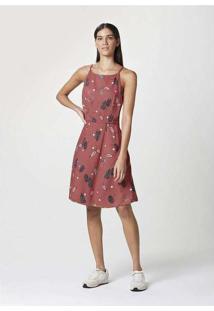 Vestido Curto Feminino Sem Manga Rosa