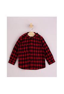 Camisa Infantil Estampada Xadrez Com Bolso Manga Longa E Capuz Vermelha